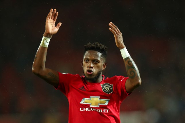 Fred celebrates after Manchester United's victory over Manchester City in the Premier League