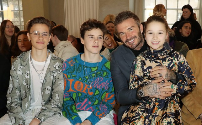 Romeo Beckham, Cruz Beckham, David Beckham and Harper Beckham.
