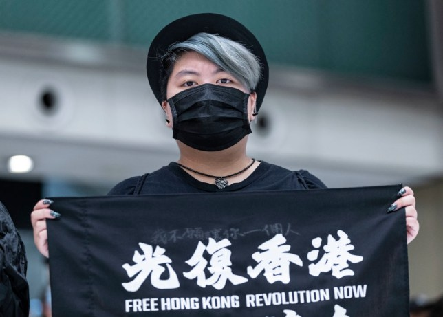 A protester holds a flag during a rally in Shatin district.