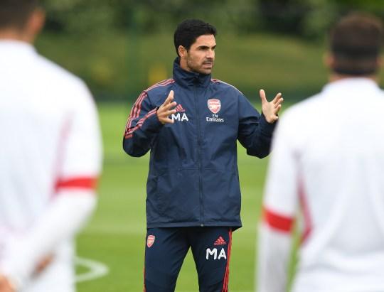 Mikel Arteta leads the Arsenal training session
