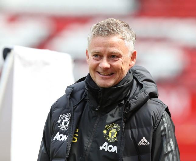 Ole Gunnar Solskjaer all smiles in Manchester United training