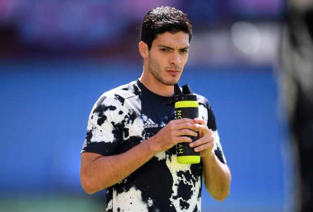 Manchester United transfer target Raul Jimenez looks on ahead of Wolves' Premier League clash with Aston Villa