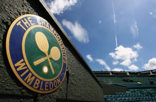 A 'The Championships' logo is seen at Centre Court during previews for the Wimbledon Lawn Tennis Championships at the All England Lawn Tennis and Croquet Club on June 21, 2007 in London, England.