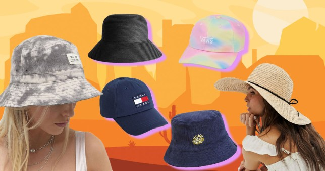 different sun hats on a colourful background
