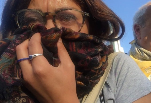 Naomi Larsson lors des manifestations au Chili en 2019.