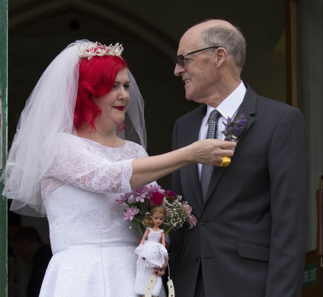 Merle and her father on her wedding day