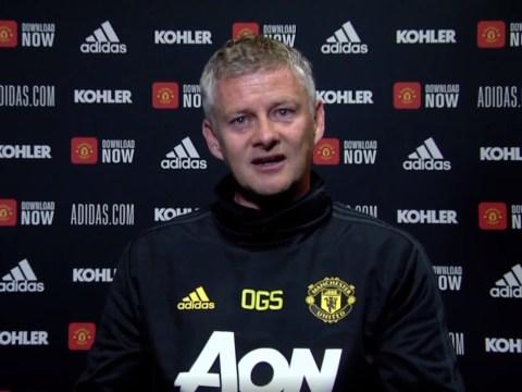 Manchester United manager Ole Gunnar Solskjaer congratulates Jurgen Klopp after Liverpool secure Premier League title