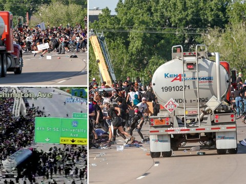 Tanker drives through George Floyd protesters in Minneapolis