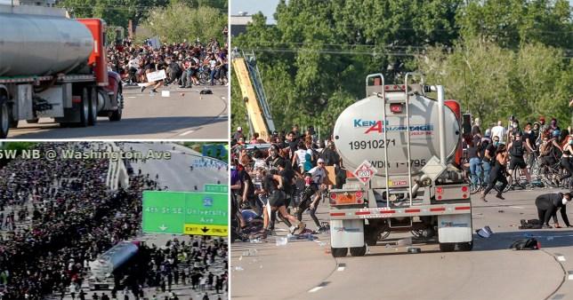 Un pétrolier a pénétré dans une foule de milliers de manifestants alors qu'ils marchaient contre le racisme et la brutalité policière après le meurtre de George Floyd à Minneapolis