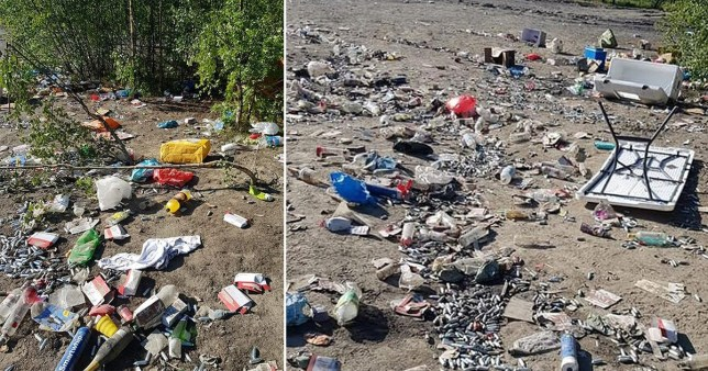 Thousands of empty bottles and cans, plastic bags and gas canisters were left strewn across the ground at Fir Tree Flash in Leigh this weekend