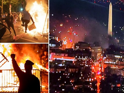 Washington DC in flames as protesters start fires near White House