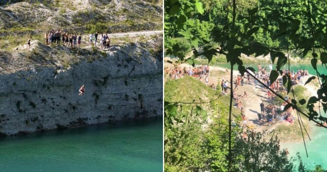 Visitors jump into a former quarry site in Chinnor, Oxfordshire, which people are diving into despite it being filled with chemicals