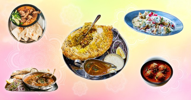Dishoom dishes on a colourful background