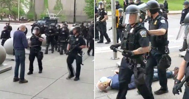 Composite image of police in riot gear marching past elederly man they shoved as he bleeds