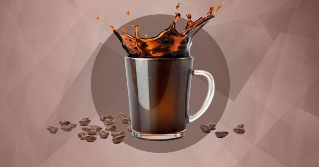 A coffee cup with the coffee splashing out of the cup, as well as coffee beans on a brown background.