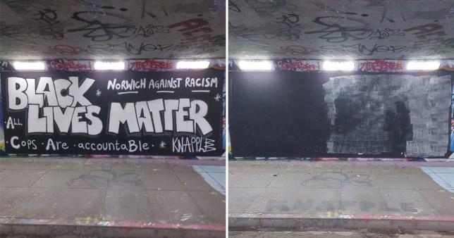 Council paints over Black Lives Matter mural after 'offensive graffiti' complaint