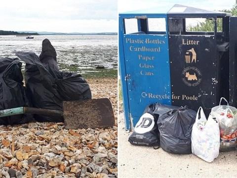 Beach volunteers left to clean up poo in yoghurt pots, socks and towels