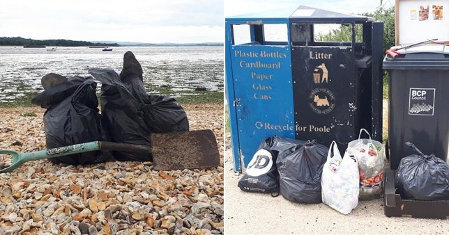 Lake Pier at Poole Harbour, Dorset, was littered with poo in takeaway boxes and yoghurt pots.