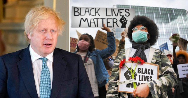 Boris Johnson and Black Lives Matter protesters