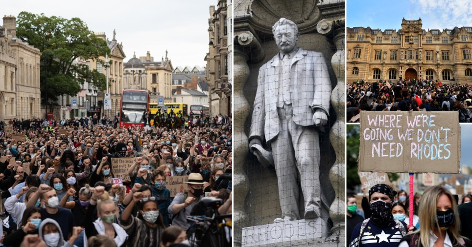 Composite image of Cecil Rhodes protests