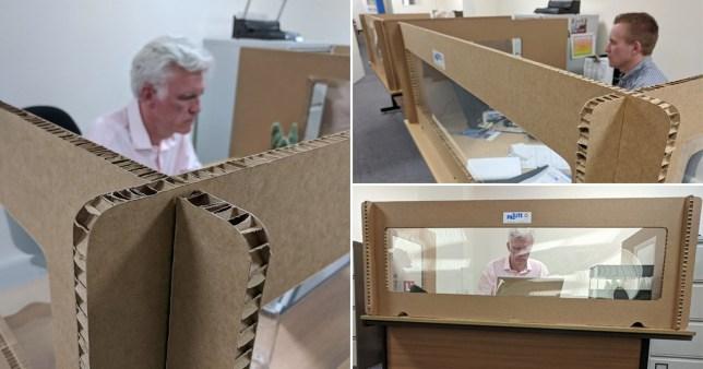 Composite  image of cardboard social distancing screens
