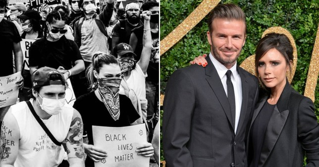 Victoria Beckham and David Beckham pictured separately alongside Brooklyn Beckham pictured at Black Lives Matter protest