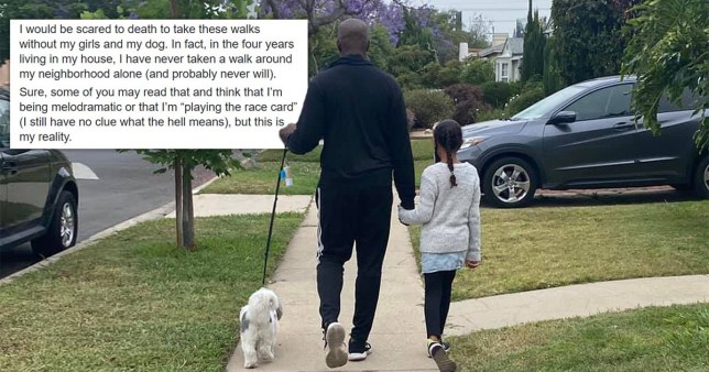 Dad and daughter on a walk