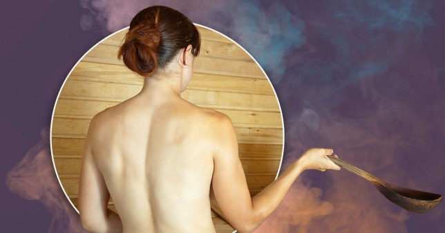 Woman naked in a sauna