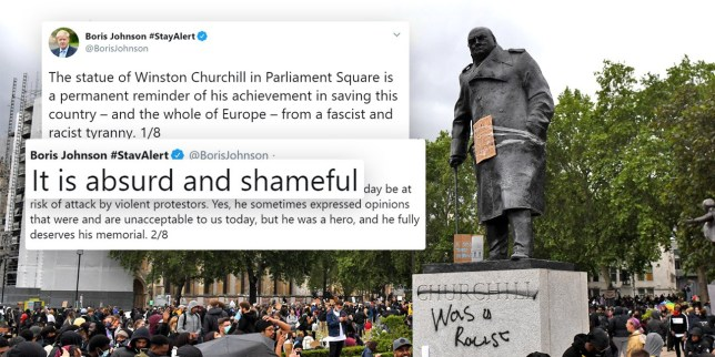 Picture of vandalised statue of Sir Winston Churchill in Parliament Square on weekend of June 6 and June 7 by BLM protesters and Boris Johnson defending that statue on Twitter