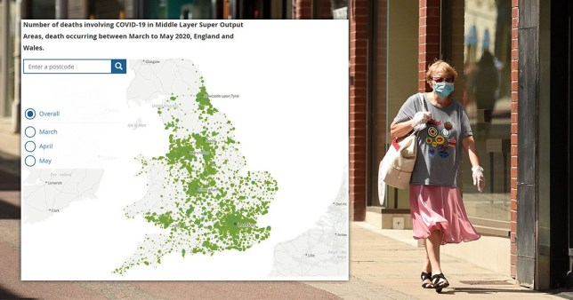 Coronavirus death rate halves in all but two parts of England and Wales - map showing mortality rate using ONS figures, and woman wearing face mask as she walks down the street
