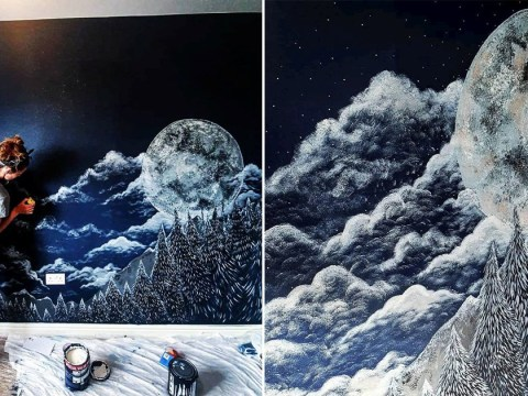 Mum paints incredible moon and forest mural on her unborn son's bedroom wall