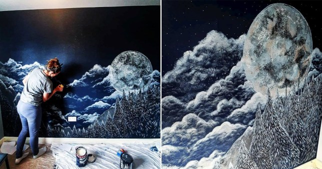 Rebecca Jeffery hand-painting a moon and forest mural on her unborn son's bedroom wall