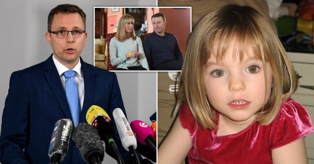 Madeleine McCann with a picture of her parents and the German prosecutor