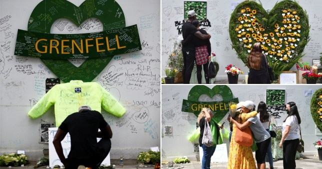 Tributes left to the 72 people who died in Grenfell Tower
