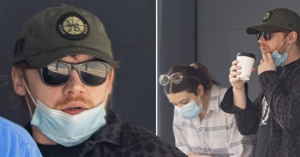 Rupert Grint and Georgia Groome wearing face masks on walk with newborn daughter