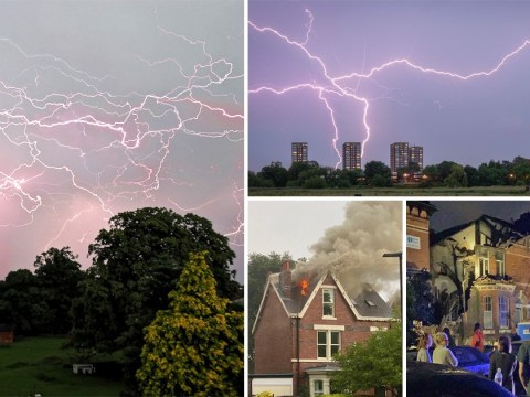 Houses destroyed by lightning as storms cause chaos across UK
