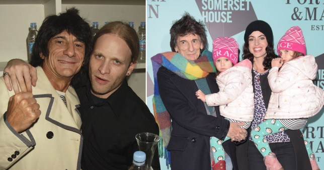 Jamie Wood pictured with step-dad Ronnie alongside picture of Ronnie Wood with twin daughters and wife Sally Humphreys