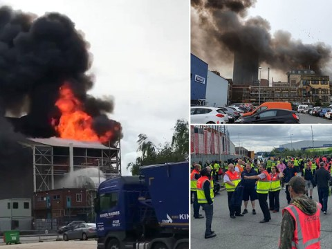 Three in hospital after huge explosion causes fire at factory