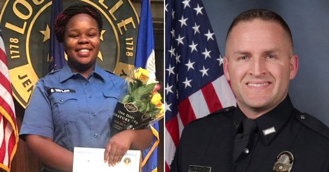Breonna Taylor (left) and police officer Brett Hankison who is being fired over the fatal shooting of Taylor in Louisville, Kentucky, USA