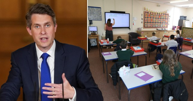 Education Secretary Gavin Williamson (left) and classroom