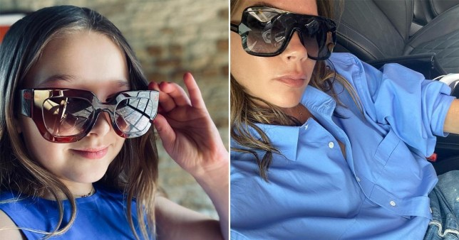 harper beckham and victoria beckham both wearing sunglasses, separate pictures