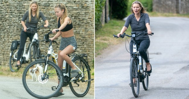 Kate Moss and daughter Lila Grace bike ride