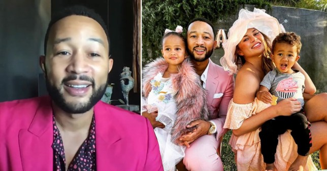 John Legend pictured alongside picture of John, Chrissy Teigen and their kids Luna and Miles
