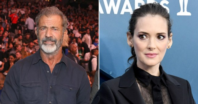 Winona Ryder pictured separately alongside Mel Gibson