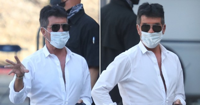 Simon Cowell arrives for work at a studio in Simi Valley, California wearing face mask
