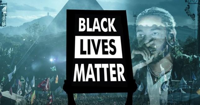 Glastonbury festival performers and the Black Lives Matter logo