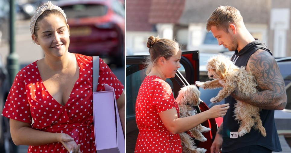 Jacqueline Jossa pictured with husband Dan Osborne and their puppies