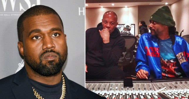 Kanye West pictured separately alongside Dr Dre and Snoop Dogg in the studio together