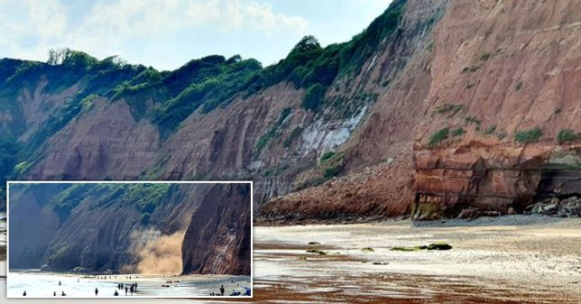 Part of the cliff collapsed at Sidmouth