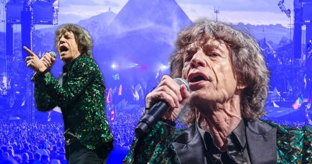 Mick Jagger pictured alongside Glastonbury's Pyramid Stage